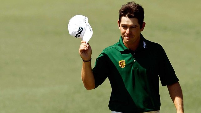 Louis Oosthuizen salutes the crowd following his sensational albatross on the second hole