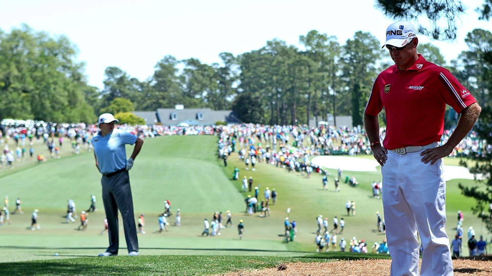 A view of the first fairway at Augusta with Lee Westwood taking a moment to contemplate life
