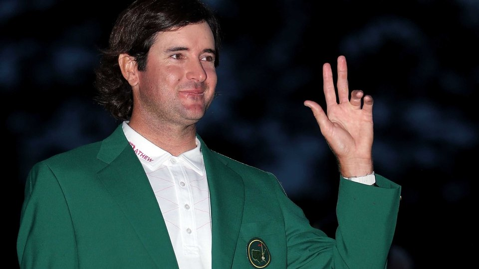 Bubba Watson poses in his Green Jacket as a major winner and Masters Champion