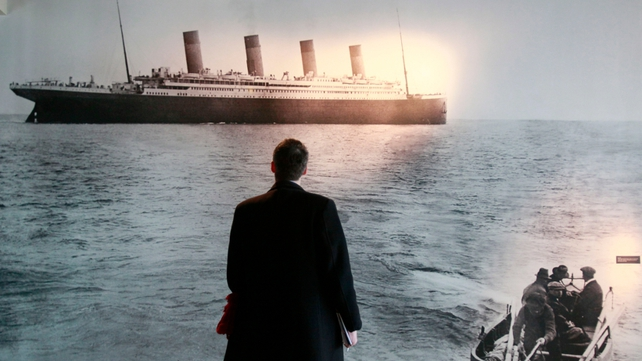 One of the last photographs of the Titanic, departing Cobh, on display at the Titanic Visitor Centre in Belfast