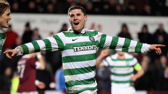 Gary Hooper scored Celtic's fourth against Hearts