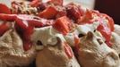 Strawberry and Hazelnut Toffee Pavlova - Fruit and cream make for delicious deserts and adding meringue introduces a wonderful crunchy texture. I use a light golden brown sugar in this recipe which results in turning the meringue a lovely toffee colour.