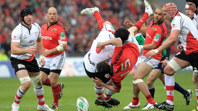 Ulster prop John Afoa incurred a four-week suspension for this tackle on Felix Jones