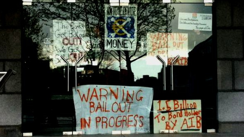 The group protested over payments to bondholders