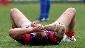 Clontarf's Evan Ryan is devastated after his side's defeat to St Mary's