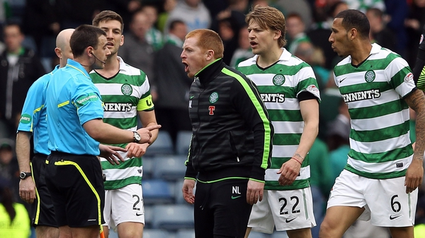 Celtic manager Neil Lennon confronts referee Euan Morris after his side's surprise exit from the Scottish Cup