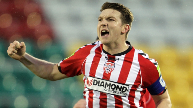Kevin Deery celebrates his opener against Shamrock Rovers