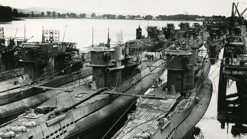 A photo of surrendered German U-boats may hold the key to identifying what is in the image (Pic: Royal Navy Submarine Museum Gosport)