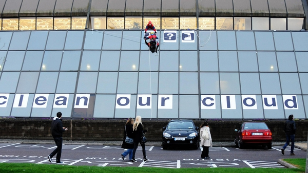 The protesters went on to the roof of the Apple building in Cork