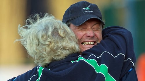 Denis Pritchard in celebratory mood after a recent success for Ireland in the Olympic qualifying tournament