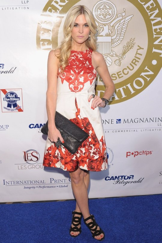 Loving this printed and statement dress that Tinsley Mortimer wore earlier this week. With oversized clutch and thick-strapped heels, it's a simple yet powerful look for the designer