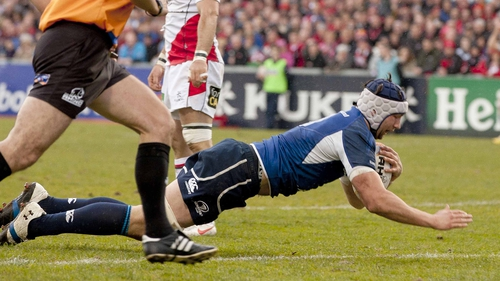 Kevin McLaughlin goes over for an early Leinster try