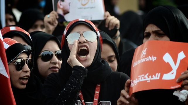 Protesters in Manama are calling for the end of the Formula One Grand Prix race