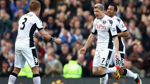 Pavel Pogrebnyak celebrates putting Fulham ahead