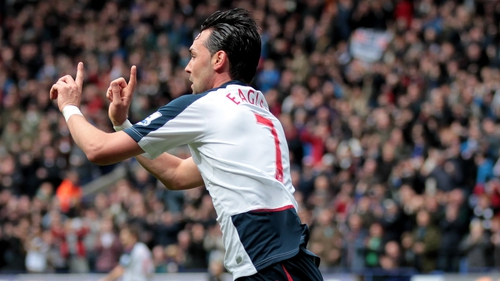 Chris Eagles celebrates hitting the back of the onion sack for Bolton