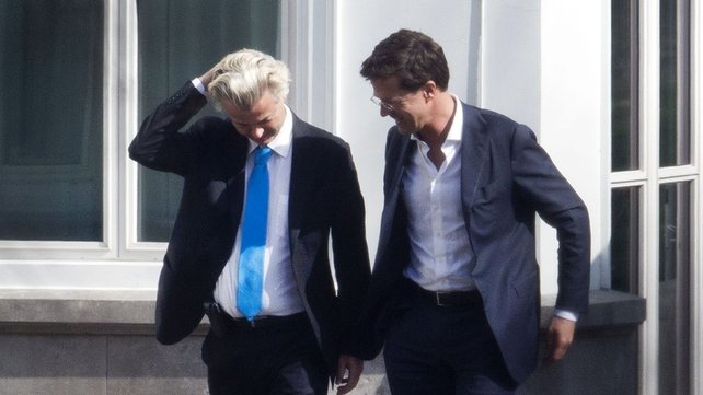 Geert Wilders, on left, with Dutch PM Mark Rutte after Wilders pulled out of government triggering an election.