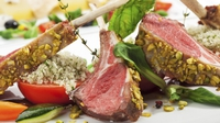 Herb Crusted Rack of Lamb with Celeriac Mash - A hearty lamb meal with Sautéed Mushrooms and Pan Juices