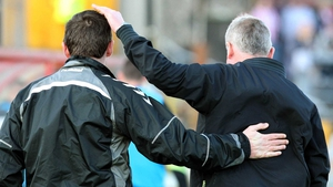 Managers Declan Devine (L) of Derry and Stephen Kenny of Rovers