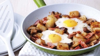 One Pan Fry-up - A scrumptious brunch dish for sharing on a lazy weekend, with just one pan to wash up afterwards. Relax and enjoy at your leisure, with the weekend papers. 5 ProPoints per serving 11 ProPoints per recipe
