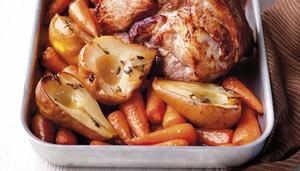 Roast Pork with Glazed Pears and Carrots