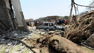 The bomb scene at the This Day premises in Abuja