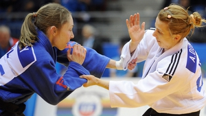 Irelands's Lisa Kearney (left) competing in the 48kg category elimination bout at the European Judo Championships in Chelyabinsk, Russia
