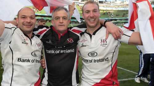 Ulster coach Brian McLaughlin celebrates with Rory Best and Stephen Ferris