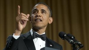 Barack Obama speaks during the White House Correspondents Association Dinner in Washington