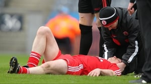 Aidan McCrory of Tyrone receives medical attention during the Allianz League Division 2 clash with Kildare