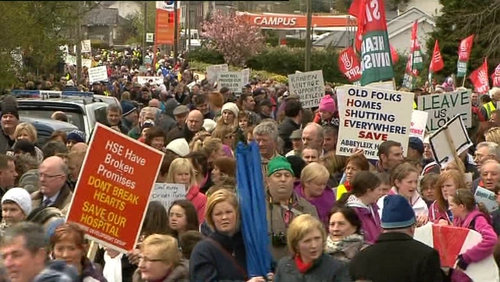 Around 3,000 people took part in the protest against the proposed closure of the hospital unit