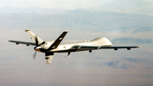 Unmanned aircraft fired three rockets at an Islamic seminary in the Hangu district
