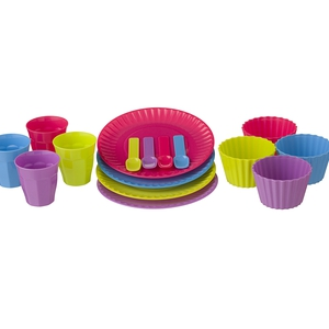 4 pack tumblers €2.50 4 pk plates €3 4 pack, ice cream bowls & spoons €2.50 in store mid May