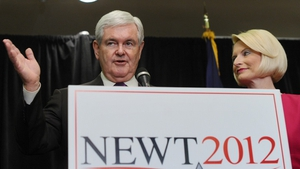 Newt Gingrich addressed the media and supporters in Arlington, Virginia today