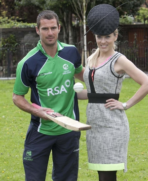 Kathryn Thomas at the launch of the event, alongside Irish cricketer Max Sorenson