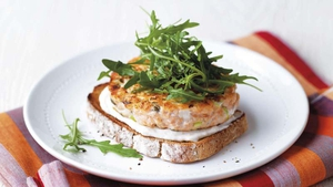 Salmon Burger on Rye with Horseradish Cream
