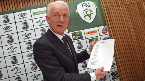 Giovanni Trapattoni with his Euro 2012 squad list at the Aviva Stadium