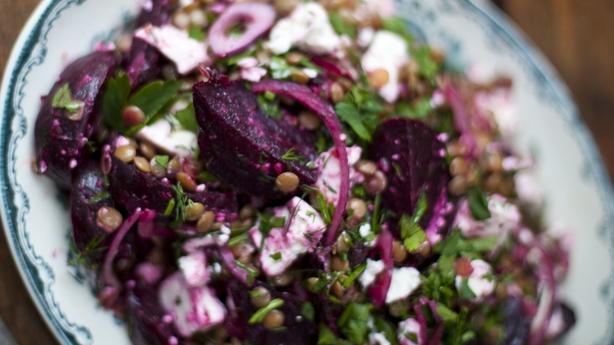 Roasted Beetroot, Feta and Lentil Salad