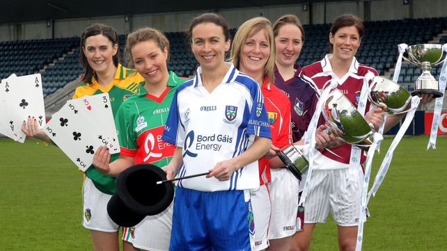 (L to r) Mairead Stenson of Leitrim, Leona Ryder of Mayo, Sharon Courtney of Monaghan, Cork's Elaine Harte, Galway's Claire Hehir and Westmeath's Laura Walsh