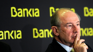 Bankia's former chairman Rodrigo Rato gives a press conference to announce the 2011 annual results in Madrid in February