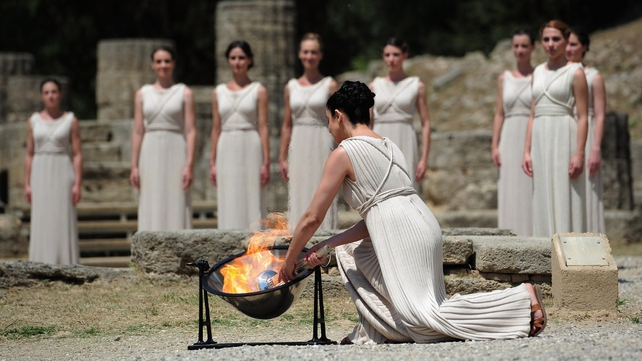 The ceremony took place in the ruins of the 2,600-year-old Temple of Hera