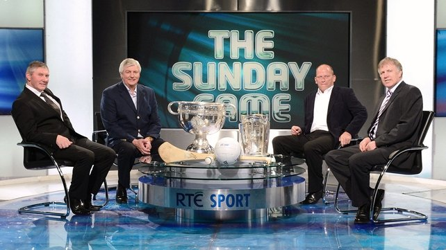 Martin McHugh, Michael Lyster, Ger Loughnane and Donal O'Grady in The Sunday Game studio
