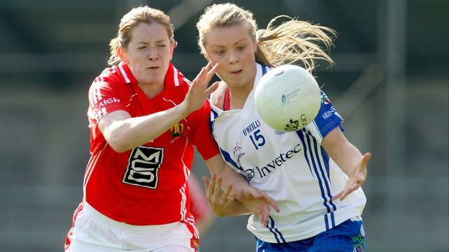 Cork's Ann-Marie Walsh and Monaghan's Caoimhe Mohan battle for the ball during a very competitive finale to Ladies Football Division 1