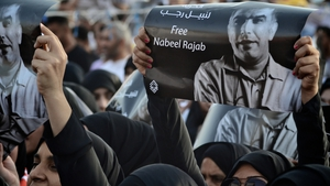 Protesters demanding the release of Nabeel Rajab