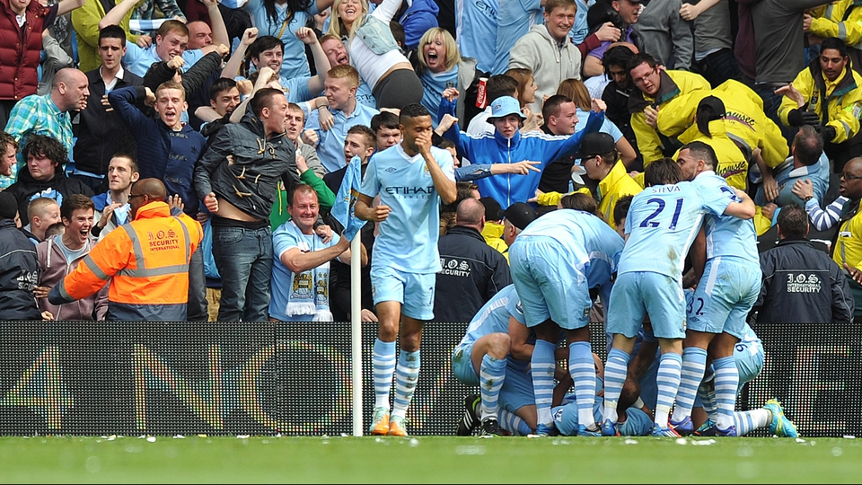 Pablo Zabaletta opened the scoring for Manchester City in their title deciding game against QPR
