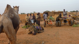 This photo near Niamey shows villagers from western Niger who have fled their village