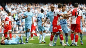 Joey Barton lashed out after being shown a red card