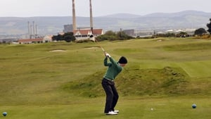 Irish amateur golfer Gavin Moynihan in action. He took a maximum two points on Saturday at the Walker Cup