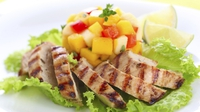 Mango Salsa with Roasted Chicken Breast - This is a perfect summers day dish. Its quick, light and very tasty. You will get about 5 servings of salsa from this and it will hold in the fridge for 3-4 days.