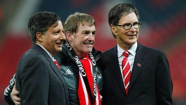 (L-R) Tom Werner, Kenny Dalglish and John Henry pictured after Liverpool's nail-biting Carling Cup success