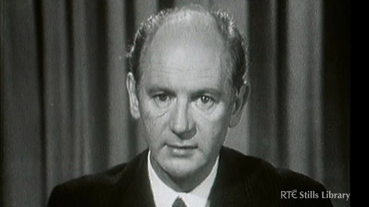 An Taoiseach Jack Lynch addresses the nation regarding the Northern Ireland situation, on RTÉ Television on 13 August 1969.  © RTÉ Stills Library 5014/016